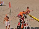 Baywatch guys on Coney Island beach