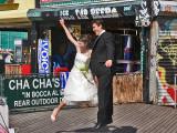Taking wedding pictures on Coney Island Boardwalk