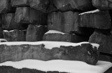 Stacked limestone and snow, Indiana, 2007.jpg
