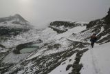 Heading down the pass toward Schoolroom Glacier and lake