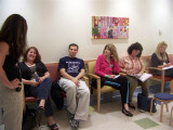 Psycologist Laurie Weiner,PhD chats in waiting room