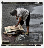 paper collector  after a rain shower