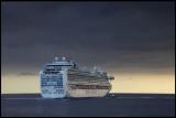Pilot boat helping cruising ship Ruby Princess from Ponta del Gada - The Azores