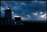 Hiding my VW California behind Stenness lighthouse in severe Gale