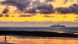QE2 at sunrise, Douglas bay, Isle of Man