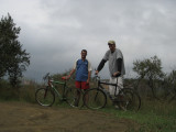 Biking through Hell's Gate National Park with Brian, a retired Peace Corps Volunteer.