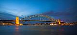 Sydney Harbour Bridge in blue dusk light