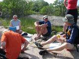 Genomgång inför dagens paddling till Lilla Flöjskär