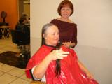 Bobbie cuts Sherry's hair
