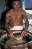 Preparing yaqona from kava root, Fiji