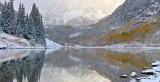 Maroon Bells & Lake - Foggy Reflection 1