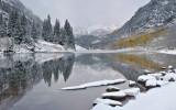 CO - Maroon Bells & Lake - Foggy Reflection 2