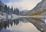 Maroon Bells & Lake - Foggy Reflection 3