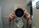 GRUMPY  -  A SELF PORTRAIT  -  TAKEN WITH THE OPTEKA .45X WIDE ANGLE LENS