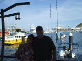 At the dock of Cabo, with our ship behind us