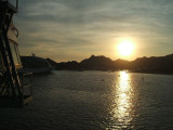 Sun setting on the harbor of Cabo