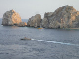 Getting closer to the point, the Mexican military boat guided us out