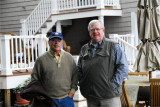 Peb Stone and Mickey Emmons at his apartment/home in Freeport, Maine.