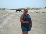 Susie and a wild horse.