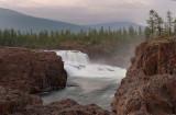 waterfall on the Dulismar river in twilight