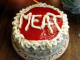 M-E-A-T is for meat cake!