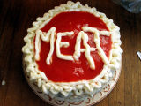 M-E-A-T is for meat cake (top view)