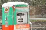 Old Gas Pump, Snow Storm, Freedom, Wyoming
