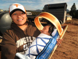 Mother with Child in Navajo Cradle Board