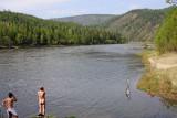 Bath at camp by Irkut river