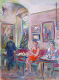 Caffé Greco, la donna dal vestito arancio, by Stellario Baccellieri