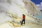 Sulphur miner working