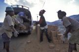 Loading the van with bricks