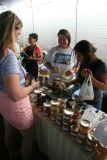 Angela buying homemade jelly at Hilo Farmer's Market