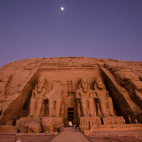 Abu Simbel Sun rise and Moon set