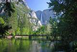 Swinging Bridge with Yosemite Falls in the background