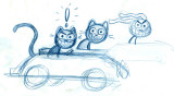 Lucky Cat and his vintage dragsters