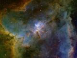 IC1805 SII Ha OIII, Ha as Luminance - full image