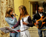 Twin-sisters  in  street concert