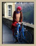 A girl and her blue bike