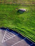 la pelouse et le parking