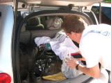 Roy packing his stuff into our HHR Chasecar