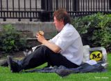 Lunch on the grass overlooking Trafalgar Square
