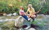 Karen at Roaring Brook, in BSP, ME, in 1989