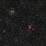 M52 Open cluster and NGC7635 The Bubble Nebula