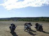Impromptu Motorcycle Gang at the Yukon River Camp