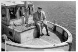 Boat Builder Verner Ohlsson at his boat