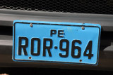 Peruvian license plate (blue)