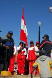 School kids with Peruvian flag