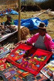 The Uros try and make money selling souvenirs
