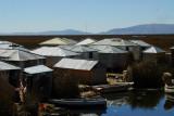 More durable tin huts, Uros Islands, Lake Titicaca
